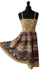 Boho Cotton Dress Bandeau Elephant Print Beige Blue One size 10 12 14 16 18 20