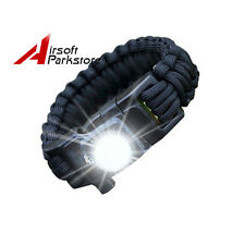 Tactical Survival Emergency Parachute Strap LED Light Bracelet w/ Whistle Black