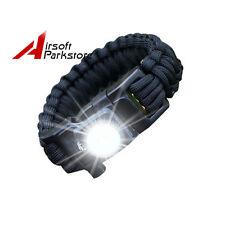 Tactical Survival Emergency Parachute Strap LED Light Bracelet w/ Whistle Black