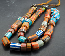 Antique Graduated Mix Color Chevron African Trade Candy Glass Bead Necklace