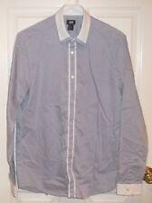 Mens H&M~Pin Stripe BLUE DRESS SHIRT~size MEDIUM~NEW Oxford White Collar Cuffs