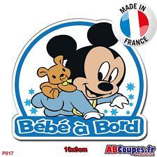Sticker autocollant Bébé à Bord - Mickey bébé Garçon enfant Auto Voiture