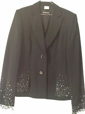 Damen Anzug Blazer+Hose Kombination Betty Barclay Perlen Streifen schwarz Gr.40