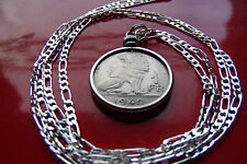 "1939-1940 BELGIUM ROYAL LION COIN Pendant on a 30"" 925 Sterling Silver Chain."
