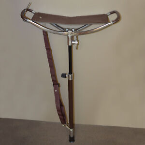 Quality Leather Shooting Trekking Walking STICK Folding SEAT Stool Chair