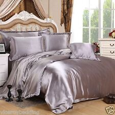 7pc Satin Bedding Set Duvet Cover Fitted Sheet Pillowcases Double Silver Ss04 18