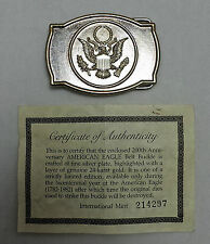American Eagle Silver Plate With 24-karat Gold Layer Belt Buckle