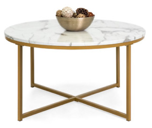 Faux Marble Modern Living Room Round Accent Side Coffee Table w/Metal Frame,Gold