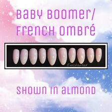 Handpainted Bespoke Press On Nails -French Ombre - Baby Boomer