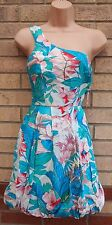 LOVE LABEL GREEN PINK WHITE ONE SHOULDER FLORAL BUBBLE SKATER A LINE DRESS 8 S