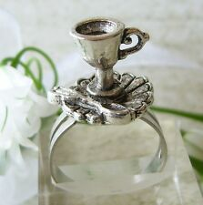 ALICE IN WONDERLAND MAD HATTER TEA PARTY Drink Me Teacup Cup Adjustable RING