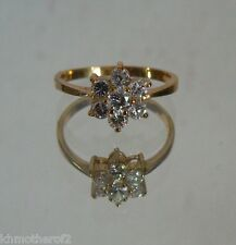 Size 9 Ring Gold Colored Setting Austrian Crystals Flower Pattern  #5