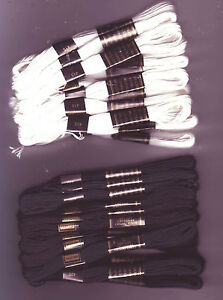 NEW!! 24 x Skeins Embroidery Cross Stitch Threads - Black OR White OR Mixture