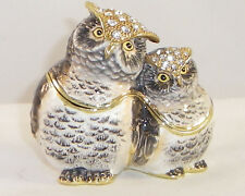 KINGSPOINT TWINKLE & STAR OWLS PEWTER  BEJEWELED HINGED TRINKET / JEWELRY  BOX