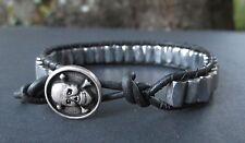 Surf Sports Bracelet Silver Magnets Handmade Mens Magnetic Black Leather Skull