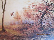 old roland clark bird hunting picture open shot  collectible framed