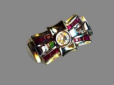 VINTAGE 14KT YELLOW GOLD  DIAMOND RUBY BOW RING