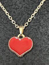 "Heart Red Enamel Charm Tibetan Gold 18"" Necklace D-749 *4*"