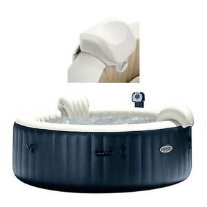 Intex PureSpa 4-Person Inflatable Heated Bubble Hot Tub With Soft Foam Headrest