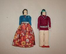 Navajo couple - hand made cloth Dolls - male and female  1940-50s - 7""