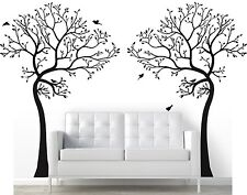2 x 7FT. LARGE Wall Decal TREE WITH BIRDS Deco Art Sticker Mural - COLOR BLACK