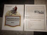 WANDERER PROSPEKT 1914  EINZYLINDER 4PS ZWEIZYLINDER MOTOR OLDTIMER VORKRIEG