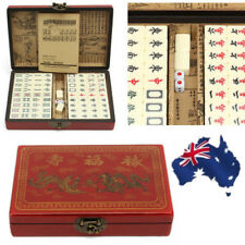 144 Tiles Mah-Jong Chinese Mahjong Portable Retro Box Rare Set In Leather Box AU