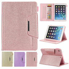 Luxury Bling Folio Leather Wallet Stand Magnetic Smart Case Cover For iPad Model