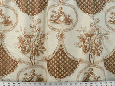 Drapery Fabric 100% Cotton Sateen Toile & Floral Design - Rusty Brown / Ivory