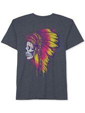 New Jem Mens Skull Indian Headdress Graphic Print Crew Neck T Shirt Tee S