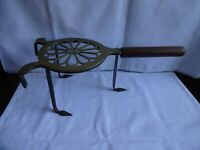 """Antique Brass & Cast Iron Trivet with Turned Wood Handle Length 14"""""""