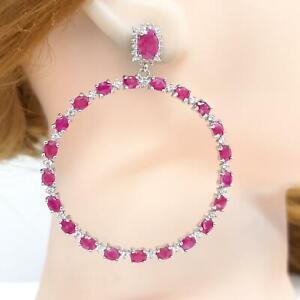 10.80ctw Mozambique Ruby & Diamond Cut White Sapphire 925 Large Hoop Earrings