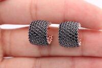 Turkish Handmade Jewelry 7 Lines Black Zircon 925 Sterling Silver Hoop Earrings