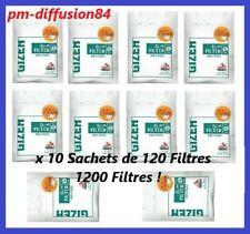 10 SACHETS DE 120 Filtres - GIZEH SLIM - Filtre Rafraîchissant Mentholé - 6 mm