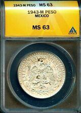 MEXICO 1943 M  PESO  KM455 ANACS MS63