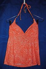 CONVERSE Orange White Patterned  Tankini Top Only Swimsuit Size S NWOT