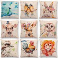 "18"" Watercolor Deer Cotton Linen Pillow Case Home Decor Sofa Waist Cushion Cover"