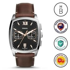 New Fossil Mens Watch Knox Black & Silver Brown Leather Strap Dual Time FS5356