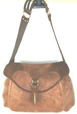 Calleen Cordero Shoulder Handbag Saddle Bag Purse Metal Stud Cigar Brown Leather