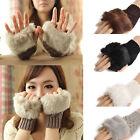 Women Ladies Fingerless Fur Winter Warm Wrist Knitted Wool Mitten Gloves