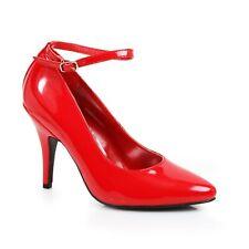 Black Patent Pointy Toe Pumps Ankle Strap Crossdresser Drag Queen Shoes 12 13 14