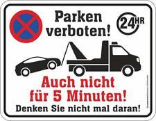 Blechschild 17 x 22 cm, Parken verboten 24HR, Werbeschild RAHMENLOS® Art. 3852