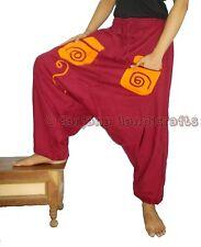 Men Women Cotton Maroon Pocket Harem Pants Yoga Hippie Dance Baggy Genie Trouser