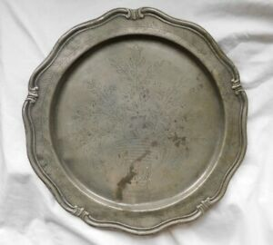 """Antique PEWTER CHARGER 12"""" Hand Engraved 18th C 1755 2 Touch Marks WAVY EDGE"""