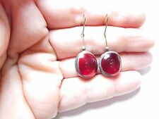 Vintage Silver Tone Metal Red Poured Glass Dangle Pierced Earrings