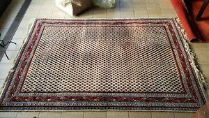 MIR Teppich 300x200 aus Indien, Handgeknüpfter Teppich, beige / rot,