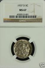 Buffalo Nickel. 1937 D. NGC MS 67 Lot # 4300510-001