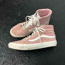 VANS Baby Pink & Off White Sk8 Hi Trainers Sneakers 6 (39) Suede Leather Lace-Up