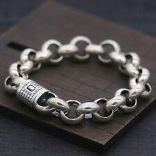 925 Pure Silver Fashion Bracelet Bold Rolo Chain Design Men's Sterling