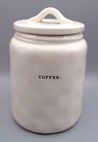 Rae Dunn COFFEE Large Canister Cookie Jar White Artisan Collection Small Letters